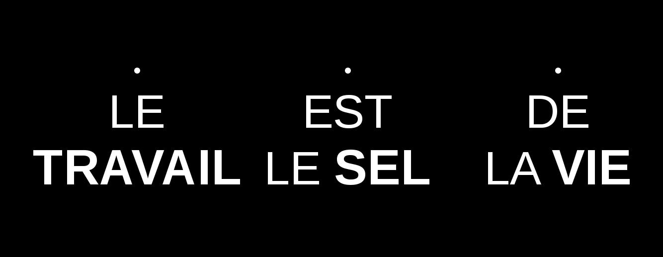 LE TRAVAIL / EST LE SEL / DE LA VIE